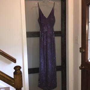 Scala Sequin/bead Purple Spaghetti Strap Gown